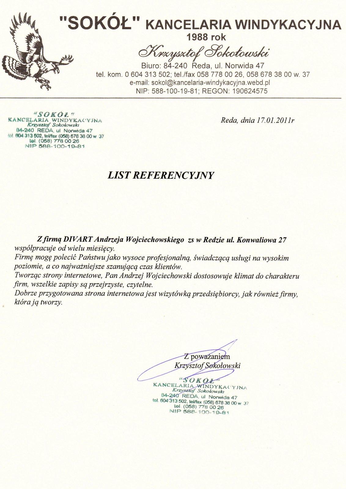 List-referencyjny-Kancelaria-Windykacyjna-Sokół