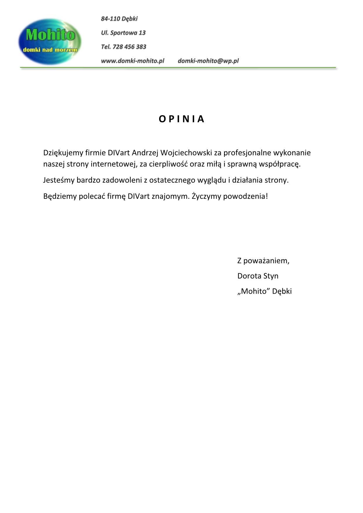 OPINIA - Mohito w Dębkach – Komfortowe domki nad morzem!