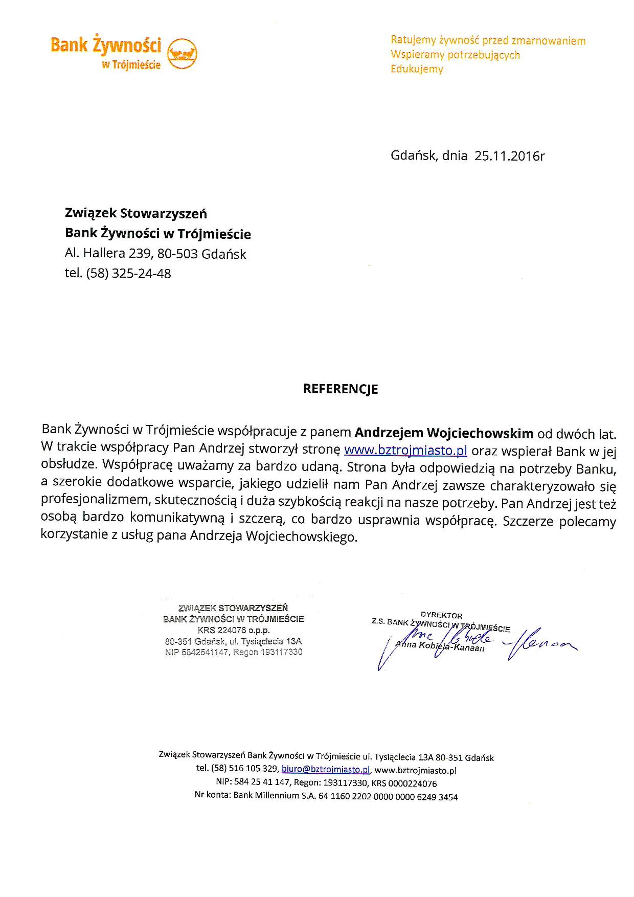 Referencje - ZS Bank Żywności w Trójmieście